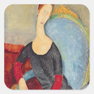 Mme. Hebuterne dans Chair bleue, 1918 Stickers Carrés