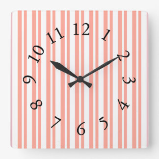 Mod-Fun-Stripes-Peach_Bed-Bath-Kitchen-Decor Horloge Carrée
