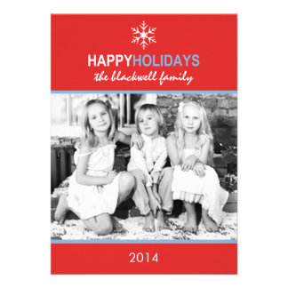 Mod Holiday Snow Red Blue Holiday Flat Card