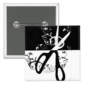Mode blanche noire à la mode chic de ciseaux pin's