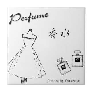 Mode et bouteille de parfum carreau