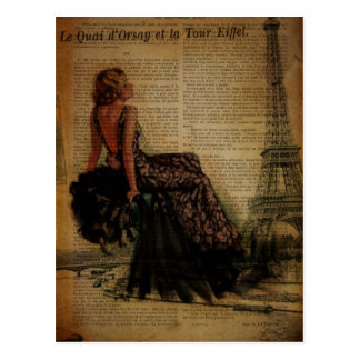 mode girly vintage romantique élégante de Paris Carte Postale