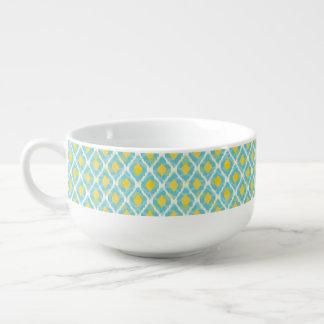 Mode jaune bleue d'ikat tribal moderne bol à soupe