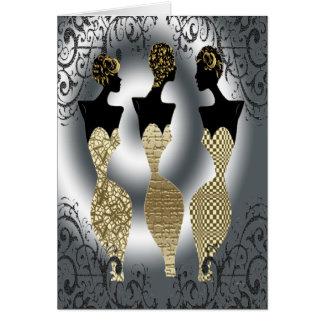 Mode noire en or carte de vœux