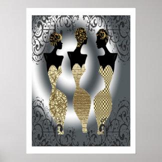 Mode noire en or poster