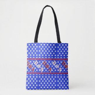 Mode patriotique blanche rouge d'étoiles bleues sac