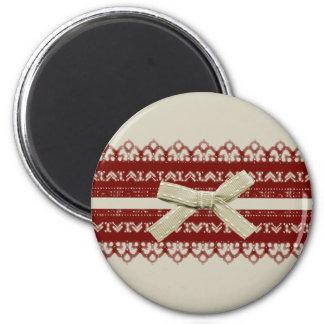 mode rouge mignonne moderne de beige de dentelle magnet rond 8 cm