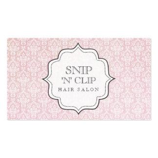 Mode victorienne vintage rose de coiffeur de damas carte de visite standard
