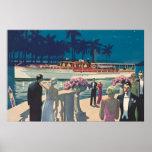 Mode vintage de cocktail de bateau de yacht d'art  poster