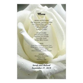 Modèle blanc de menu de mariage de roseraie prospectus 14 cm x 21,6 cm