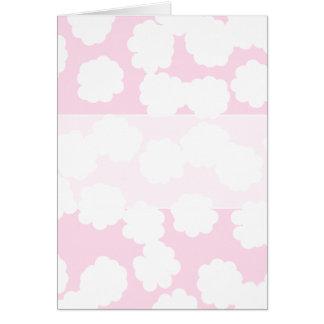 Modèle blanc et rose de nuages carte de vœux