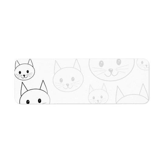 Modèle blanc mignon de chats étiquette d'adresse retour
