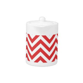 Modèle blanc rouge rayé de Qpc de motif de zigzag