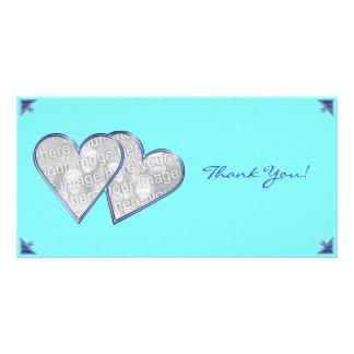 Modèle bleu de carte photo de damassé de coeurs de cartes de vœux avec photo