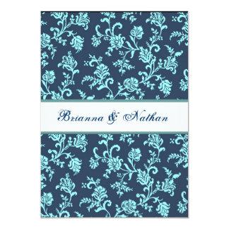 Modèle bleu de mariage damassé de fleur de marine bristol personnalisé