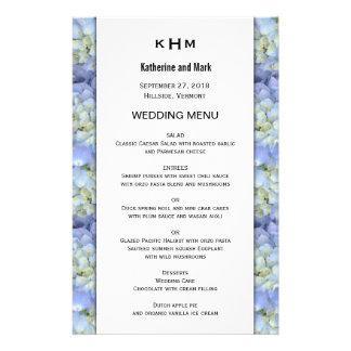 Modèle bleu de menu de mariage de monogramme prospectus 14 cm x 21,6 cm