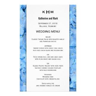 Modèle bleu de menu de mariage d'hortensia de ciel prospectus 14 cm x 21,6 cm