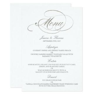 Modèle chic de menu de mariage d'aluminium argenté carton d'invitation  11,43 cm x 15,87 cm