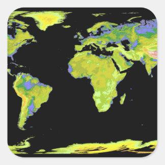 Modèle d'altitude de Digitals des continents sur Sticker Carré