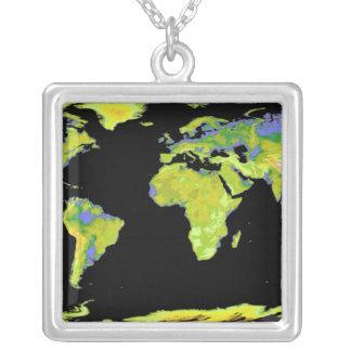 Modèle d'altitude de Digitals des continents sur Pendentif Carré