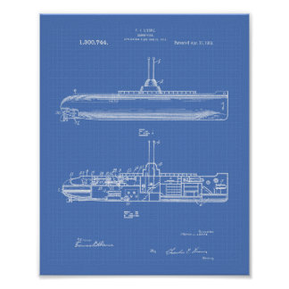 Modèle d'art de brevet du sous-marin 1919 poster
