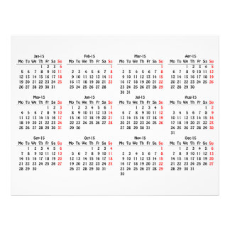 modèle de 2015 calendriers prospectus avec motif
