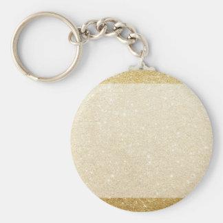 modèle de blanc de scintillement d'or pour la porte-clé rond