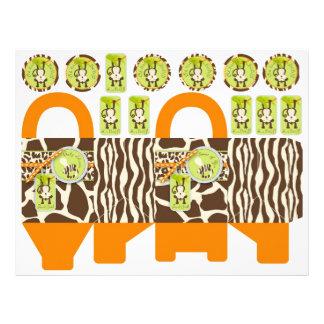 Modèle de boîte de singe de safari et de poster de prospectus 21,6 cm x 24,94 cm