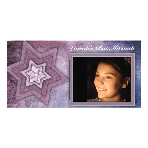 Modèle de carte photo de bat mitzvah cartes de vœux avec photo