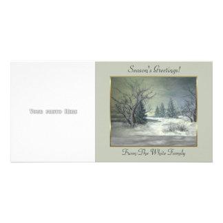 Modèle de carte photo de la scène 3 d'hiver photocarte personnalisée