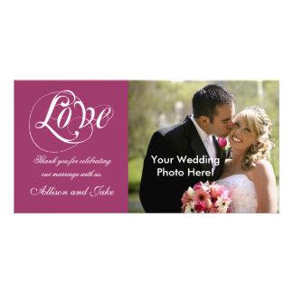 Modèle de carte photo de Merci de mariage de vin r Photocartes Personnalisées