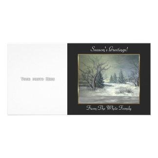 Modèle de carte photo de scène d'hiver cartes avec photo