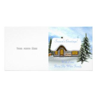 Modèle de carte photo de scène d'hiver photocarte personnalisée