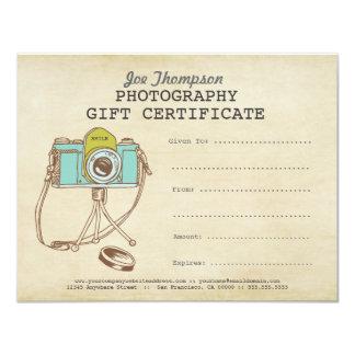 Modèle de certificat-prime de photographie de carton d'invitation 10,79 cm x 13,97 cm