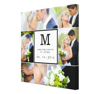 Modèle de collage de photo de mariage avec le mono toiles