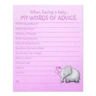 Modèle de conseils de baby shower d'éléphant rose prospectus 11,4 cm x 14,2 cm