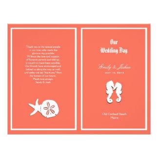 Modèle de corail de programme de mariage de plage prospectus 21,6 cm x 24,94 cm