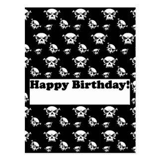 Modèle de crânes de joyeux anniversaire cartes postales
