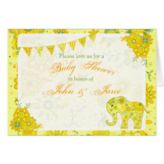 Modèle de jaune d'éléphant de baby shower cartes