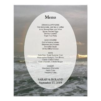 Modèle de menu de mariage de plage de ressacs prospectus 11,4 cm x 14,2 cm