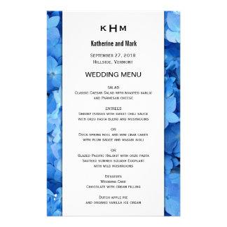 Modèle de menu de mariage d'hortensia de prospectus 14 cm x 21,6 cm