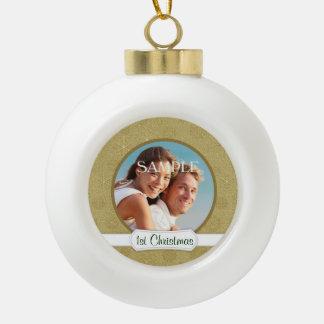 Modèle de Noël de scintillement d'étoile d'or Boule En Céramique