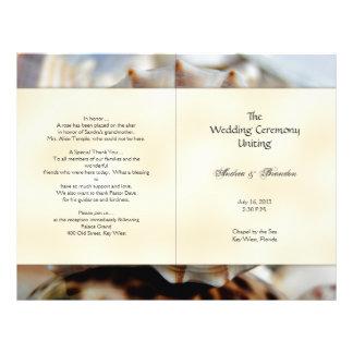 Modèle de programme de mariage de coquillage de prospectus 21,6 cm x 24,94 cm