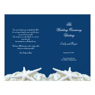 Modèle de programme de mariage de marine d'étoiles prospectus 21,6 cm x 24,94 cm