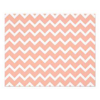 Modèle de zigzag de corail et blanc prospectus 11,4 cm x 14,2 cm