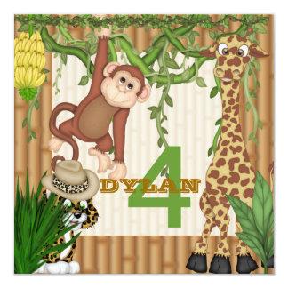 Modèle d'invitation d'anniversaire de safari de carton d'invitation  13,33 cm