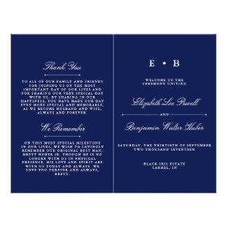 Modèle élégant de programme de mariage de bleu prospectus 21,6 cm x 24,94 cm