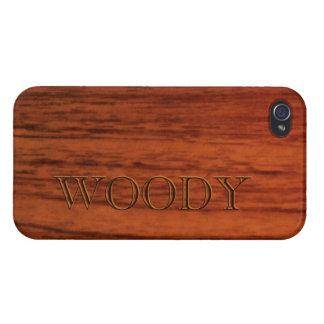 Modèle en bois d acajou de nom d impression étuis iPhone 4