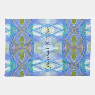modèle ethnique bleu de fractale serviettes pour les mains