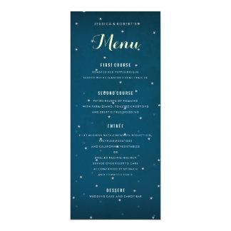Modèle étoilé de menu de dîner de mariage de ciel carton d'invitation  10,16 cm x 23,49 cm